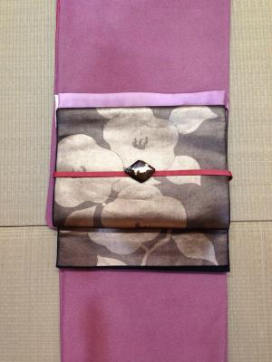 鮫小紋×椿帯