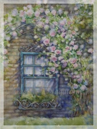 バラのある窓辺A