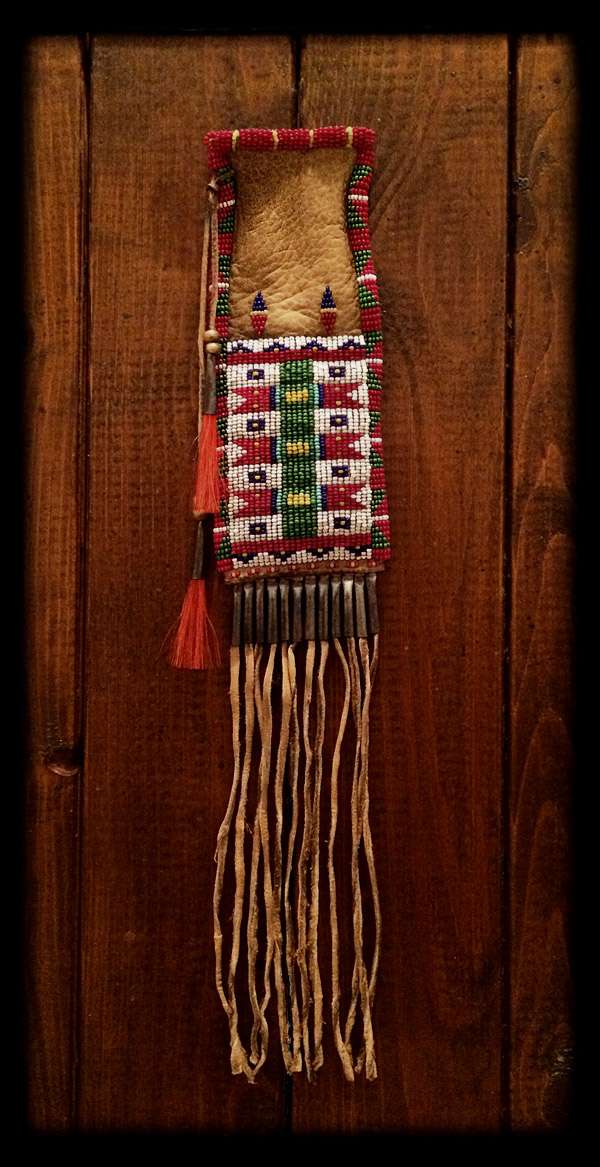 Beaded Pouch (tobacco pouch style) 1