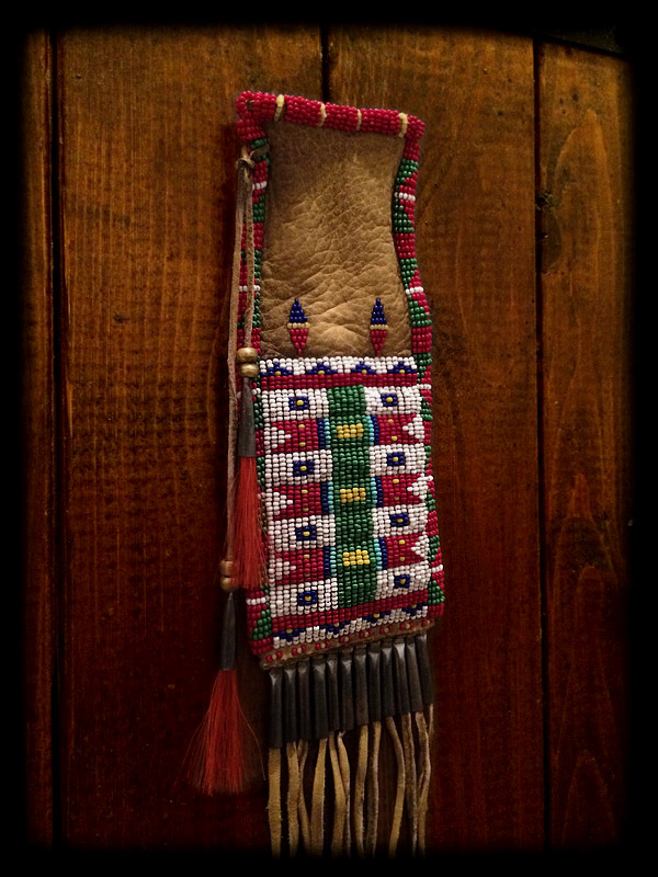 Beaded Pouch (tobacco pouch style) 3