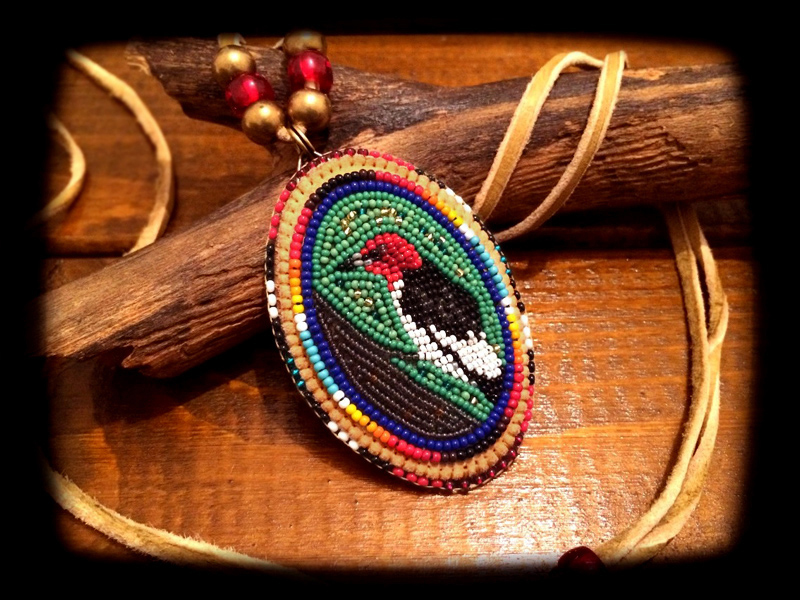 Redheaded Woodpecker Pendant Head 2