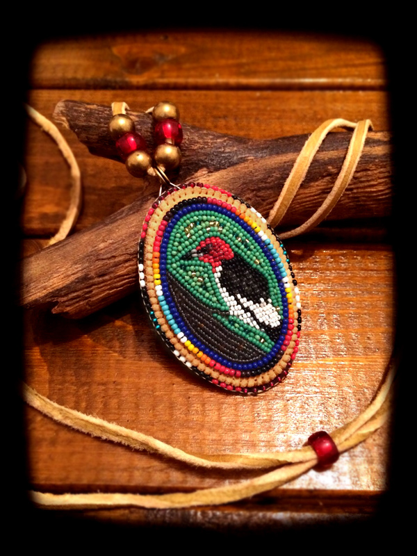 Redheaded Woodpecker Pendant Head 3