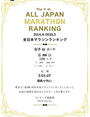2015全日本マラソンランキング(嫁)