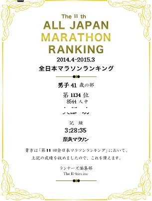 2015全日本マラソンランキング