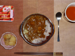 ビーフカレーライス,キャロットスープ,ジャガイモの甘辛味噌炒め,ヨーグルト