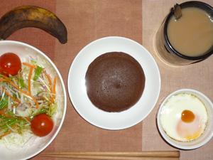 チョコパンケーキ,サラダ,目玉焼き,バナナ,コーヒー