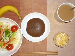 チョコパンケーキ,サラダ,スクランブルエッグ,バナナ,コーヒー