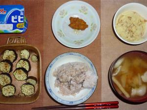 胚芽押麦入り五穀米,茄子のオーブン焼き,マッシュポテト,鶏の唐揚げ,豚汁,ヨーグルト