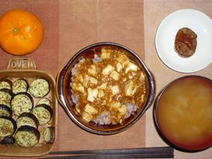 麻婆豆腐丼,ハンバーグ,茄子のオーブン焼き,玉葱のおみそ汁,みかん