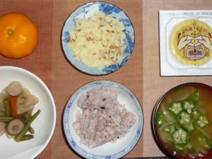 胚芽押麦入り五穀米,納豆,マッシュポテト,野菜の煮物,オクラと玉葱のおみそ汁,みかん