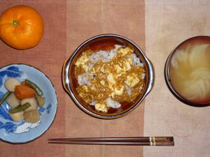 麻婆豆腐丼,野菜の煮物,玉葱のおみそ汁,みかん