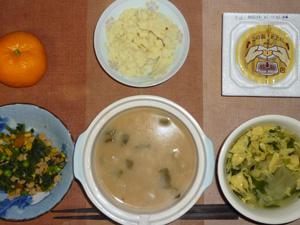 おじや,納豆,マッシュポテト,ほうれん草とミックスベジタブルのソテー,玉子と玉葱の中華スープ,みかん