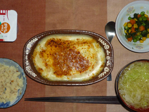 ミラノドリア,マッシュポテト,ほうれん草とミックスベジタブルのソテー,キャベツのおみそ汁,ヨーグルト