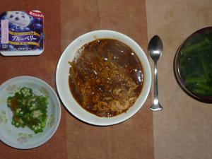 ひき肉と玉葱のカレーライス,オクラのおひたし,ほうれん草のおみそ汁,ヨーグルト