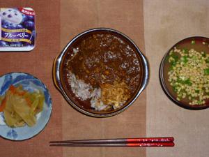 チキンカレーライス,フライドオニオン,肉野菜炒め,納豆汁,ヨーグルト