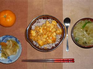 麻婆豆腐丼,野菜炒め,玉葱とほうれん草のおみそ汁,みかん
