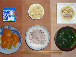 胚芽押麦入り五穀米,納豆,野菜炒め,マッシュポテト,ほうれん草のおみそ汁,ヨーグルト