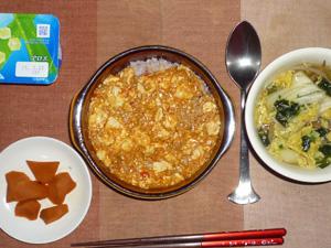 麻婆豆腐丼,人参の煮物,もやしとキャベツたっぷりの中華スープ,ヨーグルト