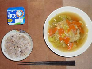 胚芽押麦入り五穀米,豆腐バーグ入り野菜スープ,ヨーグルト