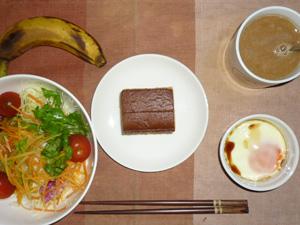 カステラ×2,サラダ,目玉焼き,バナナ,コーヒー