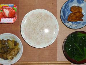 胚芽押麦入り五穀米粥、鶏の唐揚げ×2,茄子とキャベツの甘味噌炒め,ほうれん草のおみそ汁,ヨーグルト