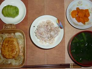 胚芽押麦入り五穀米,豆腐バーグの玉葱添え,人参の煮物,ほうれん草のお味噌汁,キウイフルーツ