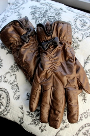 チョコレート色 手袋