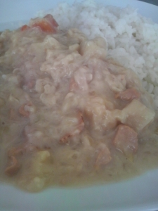 白い咖喱盛付