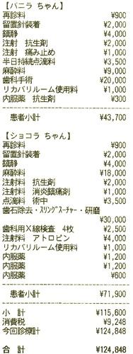 歯科治療の領収書