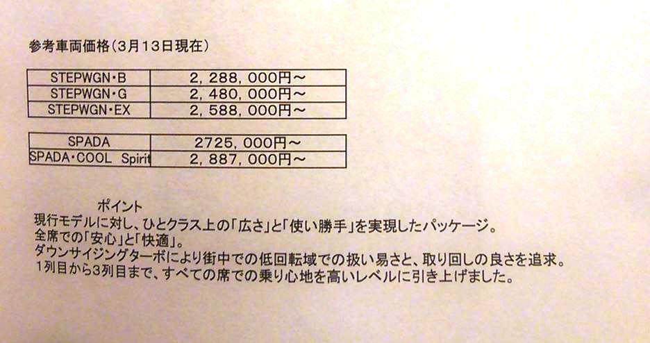新型ステップワゴン 価格表