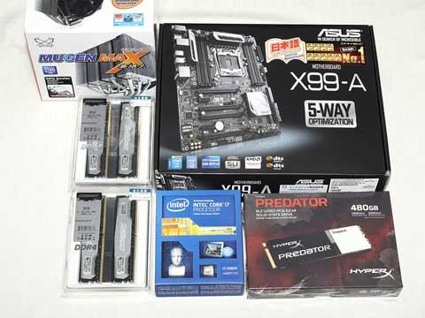 『X99-A』『Core i7-5960X』『無限大(MUGEN MAX)』『BLS4K8G4D240FSA』×2
