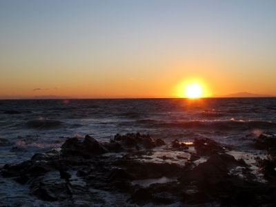 冬至の日の夕日