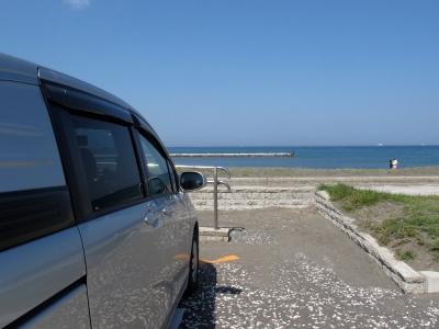 海岸にて車中泊