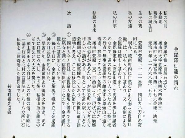 金比羅灯篭説明板