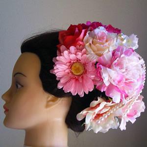 しゃくやくとガーベラの結婚式髪飾り