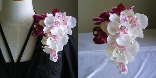 2種類の胡蝶蘭の結婚式コサージュ