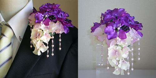 デルフィニュウムと紫陽花のメンズコサージュ