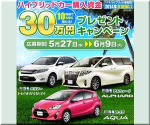 懸賞_ハイブリットカー購入資金30万円プレゼント_東京トヨペット