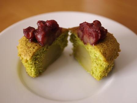 栗の甘露煮まるごと簡単はちみつカップケーキ抹茶とあずき05