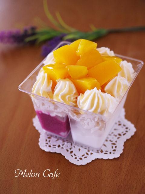 ふたつの味が楽しめる透明しっかりカップでアイス2種はちみつクリーム