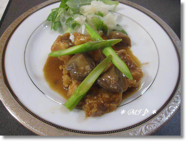 『凍らせ豆腐の赤ワイン煮』