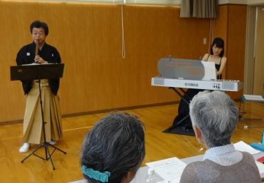 そよ風コンサートの片山尺八・谷田川ピアノ演奏者