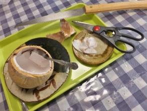 ヤングココナッツ♪キッチン鋏とのこぎりで少し手をかけて食べられました♪2015.04.14