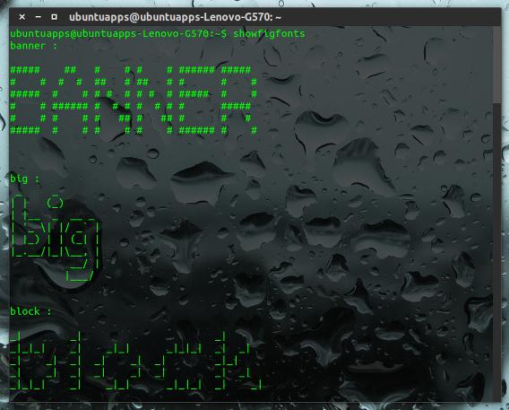 FIGlet Ubuntu コマンド アスキーアート showfigfonts フォント一覧