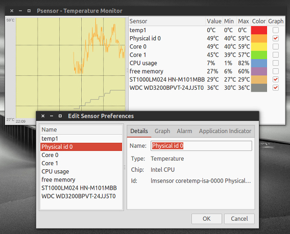 Psensor Ubuntu ハードウェアの温度 センサーの設定