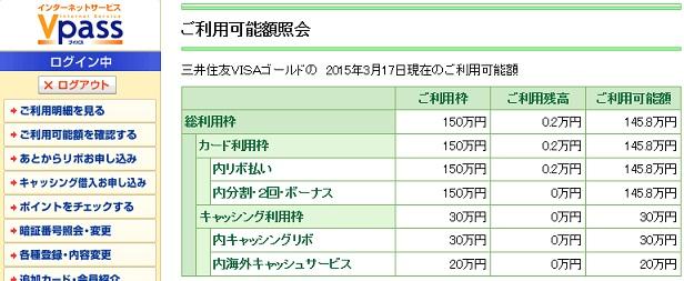 三井住友Visa限度額UP